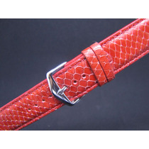 Pulseira De Couro Para Relógio 22mm Esportiva Vermelha Cobra