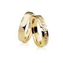 Par De Aliança Em Ouro 18k Com Diamantes Promoção