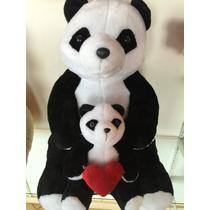 Urso Panda Com Filhote De Pelúcia Tamanho Gigante