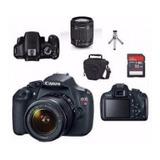 Câmera Canon Rebel T7 C/ 18-55mm Is Stm + Sd 64gb + Bolsa + Mini Tripé