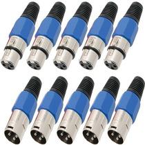Kit 10 Plugs Xlr Conector Canon Macho Femea P/ Microfone Dmx