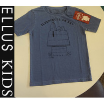 Camiseta Ellus Kids Meninos M Curta Sleeping Is An Art Azul