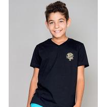 Camiseta Infantil Gola V Paco Kids - Preta