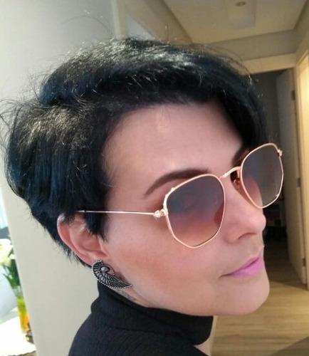 8a4f5a0605bcc Óculos De Sol Hexagonal Feminino Modelo Verão 2019 Promoção