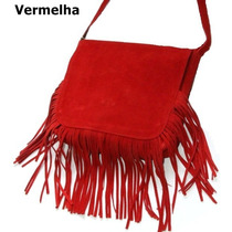 Bolsa Feminina Franjinha Franja Cor Vermelha C.0115
