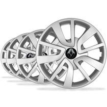 Jogo Calota Aro 14 Logan Sandero 2015 Emblema Renault - P55