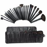Kit 32 Pincéis Maquiagem Profissional+ Estojo Premium Preto