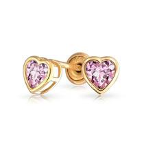 Bling Jewelry 14k Ouro Alexandrite Cz Coração Screwback