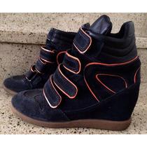 Bota Sneaker Arezzo Em Couro Nobuck Azul Marinho/laranja