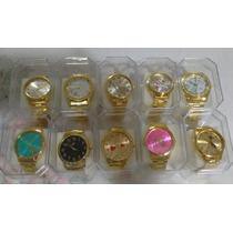 Kit C/10 Relogios Feminino Dourado+caixas Atacado Lote