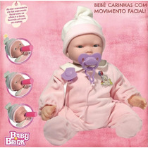 Boneca Bebe Carinhas 45cm Muito Fofa Lançamento Baby Brink
