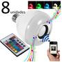 Kit 8unid Lampada Musica Led Som Bluetooth + Controle Bivolt