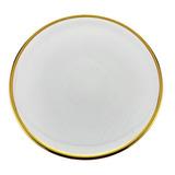 Prato De Sobremesa Em Cristal Wolff Linen 21cm Dourado