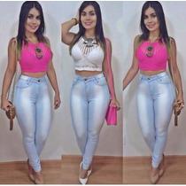 Calça Jeans Cintura Alta Hot Pants Com Lycra Veste Muito Bem