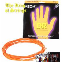 Encordoamento P/ Baixo De 5 Cordas Dr Neon - Laranja .45