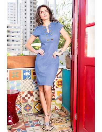 96b61f369a Vestido Tubo Malha Jeans Moda Evangélica Linda Valentina