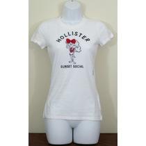 Camisa Camiseta Branca Hollister Bordada Feminina, Tamanho M