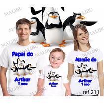 Camiseta Pinguins De Madagascar Personalizada Kit Com 3