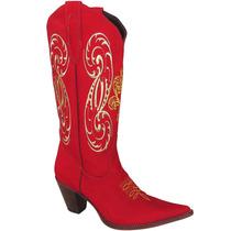 Bota Cowboy Feminina Texana Lady Silver Couro Nobuck Vermel