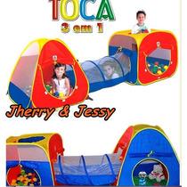 Toca Barraca Infantil 3 Em 1 Com Tunel + 100 Bolinhas