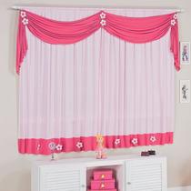 Cortina Infantil Margarida Rosa E Pink P/ Quarto De Menina
