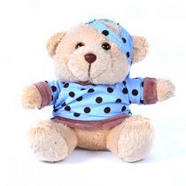 Urso Pelúcia Azul Menino Com Roupa E Boné 16cm Tamanho Mini
