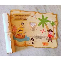 Convite Aniversário Infantil Pirata Mapa P/ Enrolar (30unid)