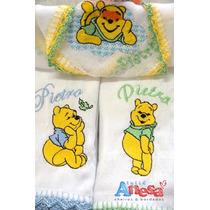 Kit 3 Fraldas De Boca Com Acabamento Em Crochet E Com O N...