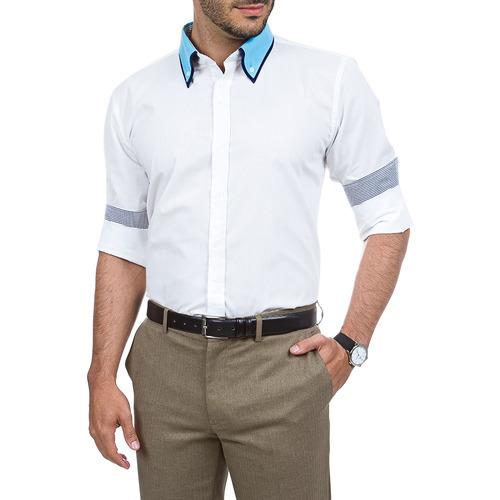 13045f3256 Camisa Social Masculina Branca Lisa Com Detalhe Colombo