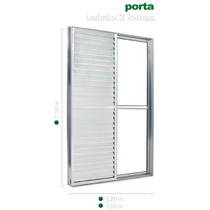 Porta Balcão 3 Folhas 2,10 X 1,50 Alumínio Branco