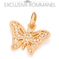 Rommanel Pingente Corrente Borboleta Zirconia Fo Ouro 541882