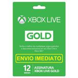 Xbox Live Gold 12 Meses Xbox 360 E Xbox One Envio Em 10 Min