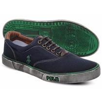 Tênis Polo Sneaker Masculino Azul Marinho E Verde Manchado