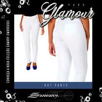 Calça Feminina Sawary Hot Pant Cintura Alta Branca
