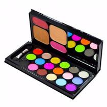 Kit Maquiagem 18 Sombra 2 Po Compacto 2 Blush 1 Pincel