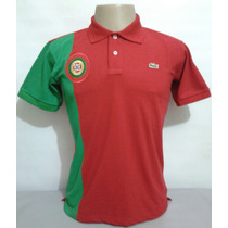 Camisa Polo Lacoste País Portugal Com Brasão Bordado