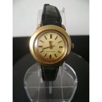 Antigo Relógio De Pulso Feminino Em Plaquê A Corda Timex