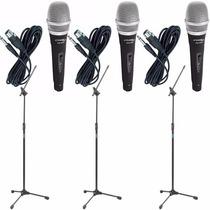 Kit 3 Microfone C/ Fio De Mão Profissional + Cabo + Pedestal