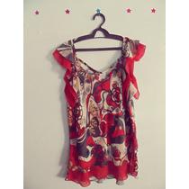 Blusa Feminina Vermelha Estampada Chiffon Cód. 4