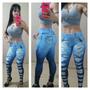 Calça Legging Estampa Jeans Rasgado Fitness Kit 6 Pcs