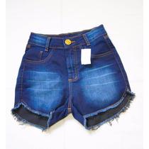 Short Cintura Alta Curto Hot Pants Azul Barato Frete Grátis