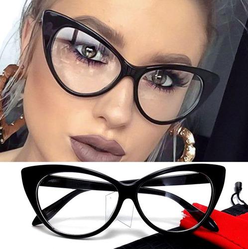 8015faa199637 Cat Eye - Armação Óculos Feminino Big Gatinho Retrô Vintage. R  49