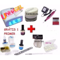 Kit Unha Gel Uv Cabine Uv 36w 220v Uv Pó Fibra Vidro Gel Uv