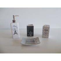 Kit Conjunto Jogo Para Banheiro Em Cerâmica 4 Peças Paris