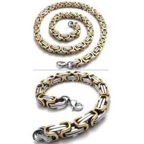Conjunto Corrente/cordão Pulseira Aço Inox316l Ouro/prata8mm