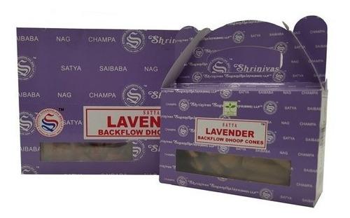 Incenso Nag Champa Satya Lavanda Cone Cascata 24cones-full