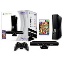 X Box 360 250gb 2 Controles, Jogo E Kinect Novo Original