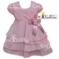 Vestido De Festa Infantil Minnie / Princesas Luxo Com Tiara