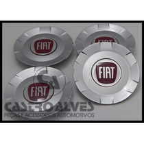 Jg Calota Tampa Roda De Liga Leve Vermelho Fiat Stilo- 4 Pçs