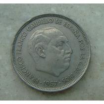 Espanha 50 Pesetas 1957 - Niquel Francisco Franco - 30mm